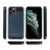 iPhone 12/ iPhone 12 Pro hybrid case hoesje met ruimte voor 2 pasjes - zwart