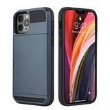 iPhone 12/ iPhone 12 Pro hybrid case hoesje met ruimte voor 2 pasjes - zilver