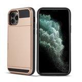 iPhone 12 / iPhone 12 Pro hybrid caase hoesje met ruimte voor 2 pasjes - rosé goud