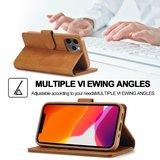 LC.IMEEKE Wallet / portemonnee hoesje voor iPhone 12 - cognac / bruin
