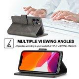 LC.IMEEKE Wallet / portemonnee hoesje voor iPhone 12 - grijs