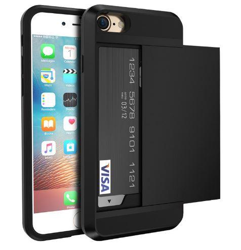 ba3691bdf69 iPhone 7 / 8 hybrid case hoesje met ruimte voor 2 pasjes - zwart