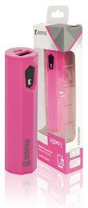 Draagbare Powerbank Lithium-Ion 2500 mAh USB Roze