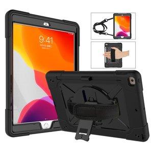 iPad 10.2 (2019) Hand Strap hoes armor case met nekkoord - Zwart