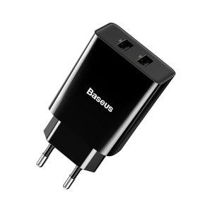 Baseus oplader / netlader met 2 USB poorten 2.1A - zwart