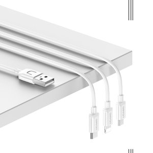 USAMS 3 in 1 kabel Micro USB | USB-C | iPhone / iPad 1.2m - wit