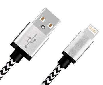 Lightning naar USB kabel nylon rugged - zwart wit