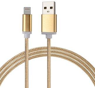 Lightning naar USB kabel nylon rugged - goud