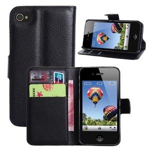 Luxe Flip Wallet hoesje voor iPhone 4/4s - Zwart