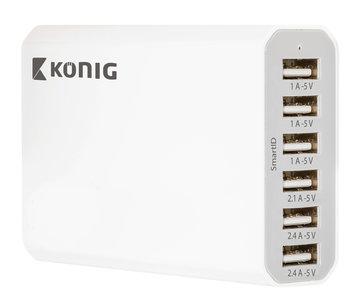 König Thuislader / USB charger 10A 6 uitgangen -  wit