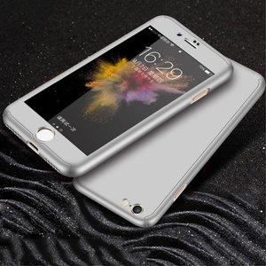 iPhone 7 / 8 hoesje armor case 360 met tempered glass - zilver