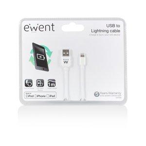 EWENT MFI USB naar Lightning kabel 1m - wit