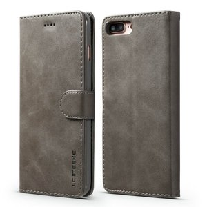 LC.IMEEKE Wallet / portemonne hoesje for iPhone 8 Plus / iPhone 7 Plus - Grijs