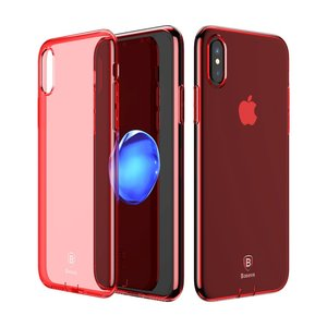 BASEUS Simple Series Clear TPU voor iPhone X 5.8 inch - rood